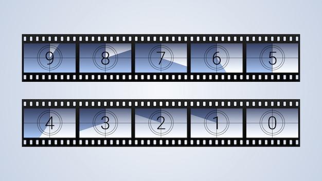 Zestaw klatek odliczanie filmu