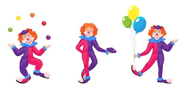 Zestaw klaunów w różnych pozach. śmieszne postacie w stylu kreskówki.