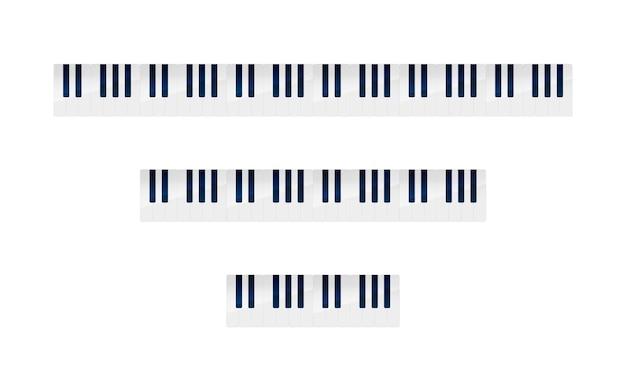 Zestaw klawiszy fortepianu o różnej liczbie oktaw, na białym tle