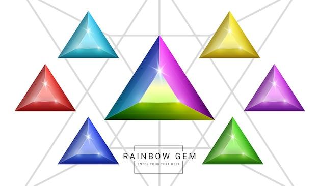 Zestaw klejnotów biżuterii fantasy w kolorze tęczy, kamień w kształcie trójkąta do gry.