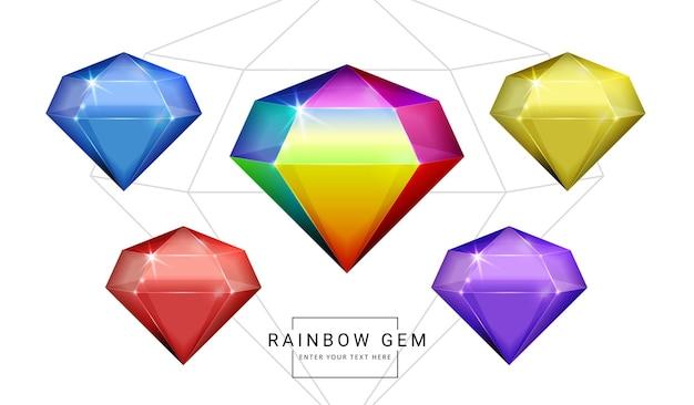 Zestaw klejnotów biżuterii fantasy w kolorze tęczy, kamień w kształcie wielokąta do gry.