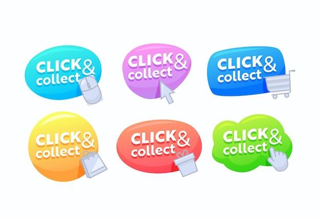 Zestaw kliknij i zbieraj banery, kolorowe dymki, cyfrowe przyciski do wejścia na stronę internetową. promo wskaźnik ikony, nawigacja na stronie sklepu na białym tle. ilustracja wektorowa