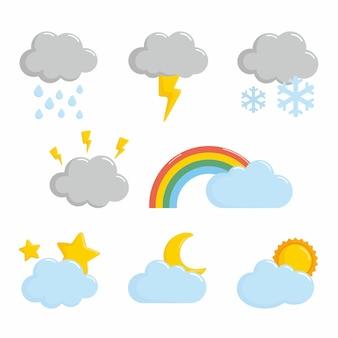 Zestaw klimatyczny pogody w chmurze