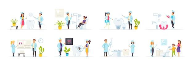 Zestaw kliniki dentystycznej z postaciami ludzi w różnych scenach i sytuacjach.