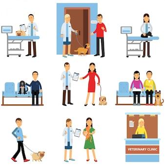 Zestaw kliniki weterynaryjnej, osoby odwiedzające klinikę weterynarza ze swoimi zwierzętami domowymi, lekarze weterynarii badający ilustracje kreskówek psów i kotów