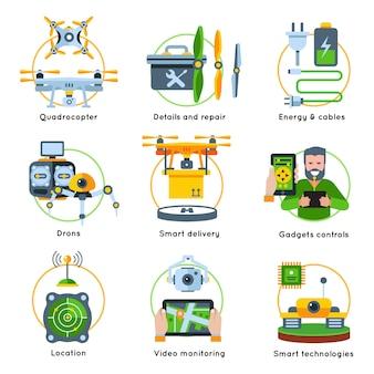 Zestaw klipartów przedstawiających koncepcję nowych technologii z kablami energetycznymi, inteligentne gadżety do lokalizacji dostawy, opisy kontrolek