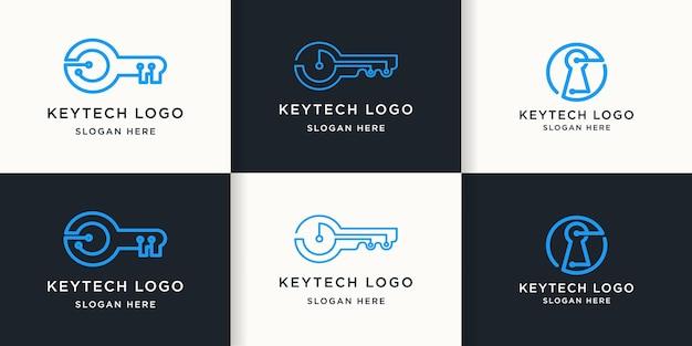 Zestaw kluczowego logo technologii z prostą linią obwodu