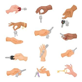 Zestaw Kluczy Trzymając Się Za Ręce. Premium Wektorów
