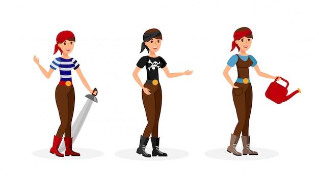 Zestaw kobiece postacie z kreskówek płaskie, kolekcja