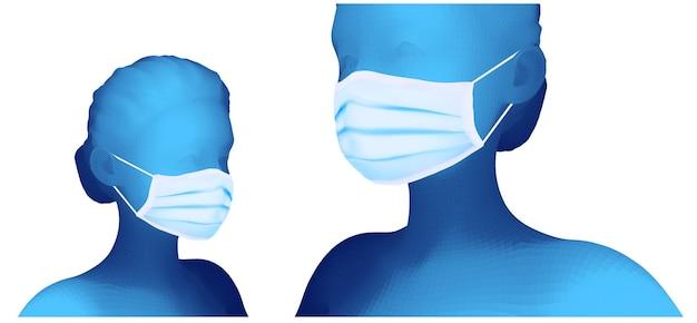 Zestaw kobiecego portretu 3d w masce medycznej na białym tle