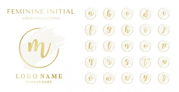 Zestaw kobiecej kolekcji początkowych logo