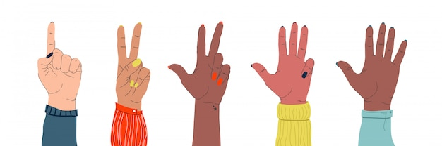Zestaw kobiecych delikatnych dłoni różnych narodowości, pokazujących różne gesty na białym tle