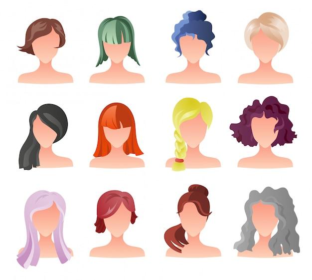 Zestaw kobiecych duszków w stylu włosów. wektor awatary dziewczyna.