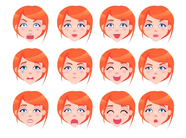 Zestaw kobiecych emocji o rudowłosej dziewczynie płaskiej