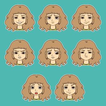 Zestaw kobiecych emocji. wyraz twarzy.