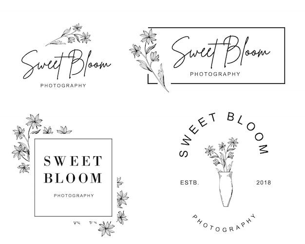 Zestaw kobiecych logo z wyciągniętej ręki małego kwiatu