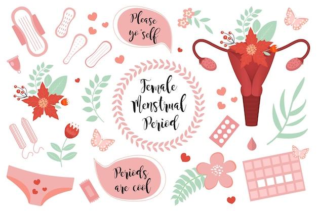 Zestaw kobiecych miesiączek.