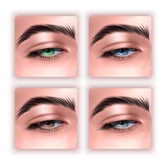 Zestaw kobiecych oczu w realistycznym stylu na białym tle