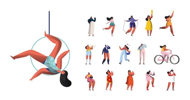 Zestaw kobiecych postaci aerial gimnastyczka cyrkowa, trening sportsmenki na skakanie, przytrzymaj trofeum nagrody, jazda na rowerze, praca na laptopie kobiet na białym tle. ilustracja wektorowa kreskówka ludzie