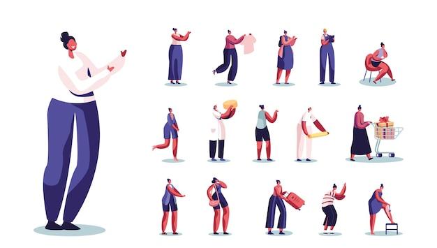 Zestaw kobiecych postaci do golenia nóg, kupowanie prezentów, zawód budowniczy lub inżynier, pracownik produkcji sera, student lub podróżnik na białym tle. ilustracja wektorowa kreskówka ludzie