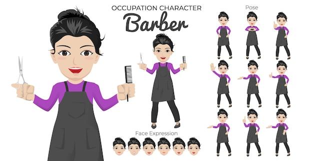 Zestaw kobiecych postaci fryzjera z różnymi pozami i wyrazem twarzy