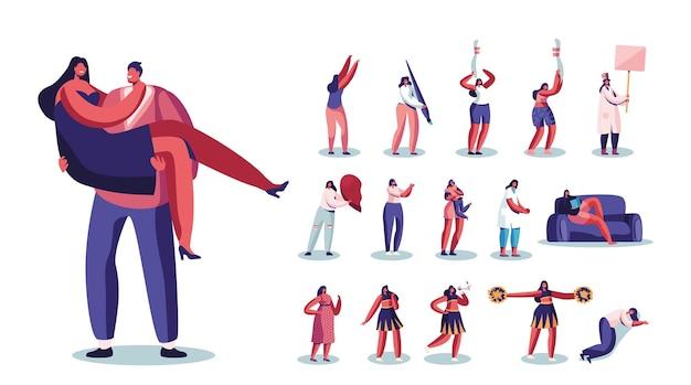 Zestaw kobiecych postaci grających w kręgle, malować z ogromnym pędzlem, przytulanie dziecka, trzymać połowę serca, czytanie książki, sen, lider cheer na białym tle. ilustracja wektorowa kreskówka ludzie