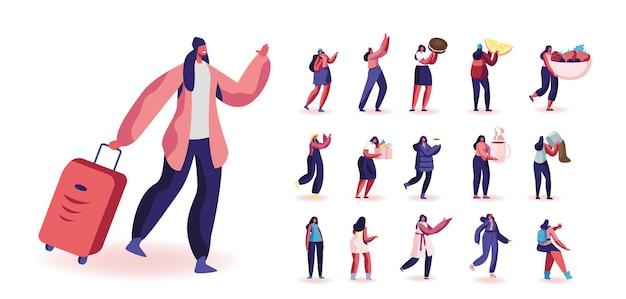 Zestaw kobiecych postaci podróży z bagażem, studentka z plecakiem, kobiety piją herbatę, kupując artykuły spożywcze, przytrzymaj ciasteczko i jagody na białym tle. ilustracja wektorowa kreskówka ludzie