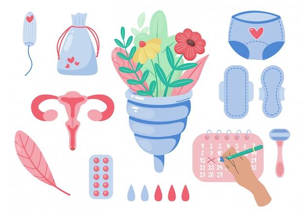 Zestaw kobiecych produktów higienicznych. cykl miesiączkowy. kobiety w krytyczne dni. zestaw kobiet oznacza ilustrację higieny osobistej. kubek menstruacyjny, podpaska higieniczna, tampon