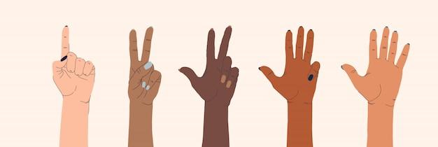 Zestaw kobiecych rąk różnych narodowości i gestów na na białym tle.