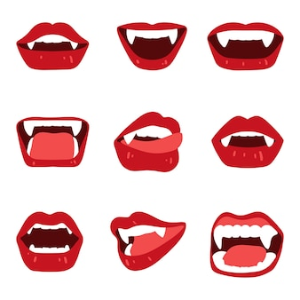 Zestaw kobiecych ust wampira z kłami ugryzienia na białymilustracja wektorowa w płaskim stylu