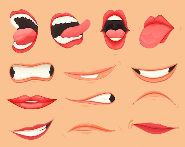 Zestaw kobiecych warg z różnymi ustami emocji i wyrażeń.