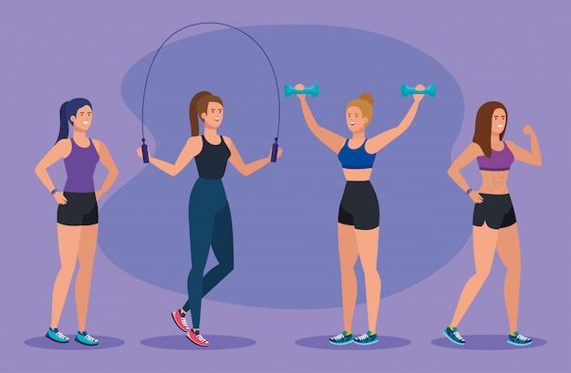 Zestaw kobiet fitness do równowagi zdrowej aktywności