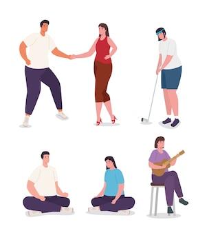 Zestaw kobiet i mężczyzn wykonujących czynności projektowania aktywności i wypoczynku