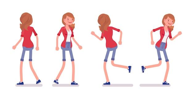 Zestaw kobiet millennial w pozie chodzenia i biegania