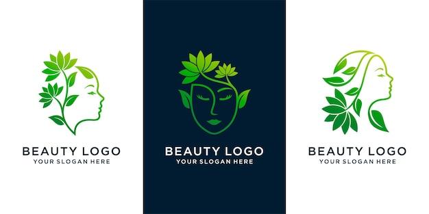 Zestaw kobiet naturalne piękno streszczenie logo z logo styl linii sztuki. koncepcja logo terapii spa. wektor premium