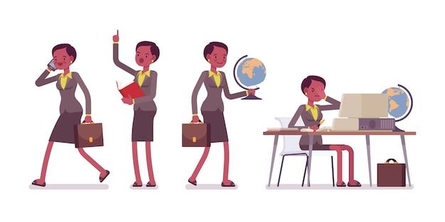 Zestaw kobiet profesjonalnych nauczycieli w szkolnych scenach