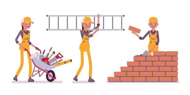Zestaw kobiet robotnik budowlany w żółtym kombinezonie