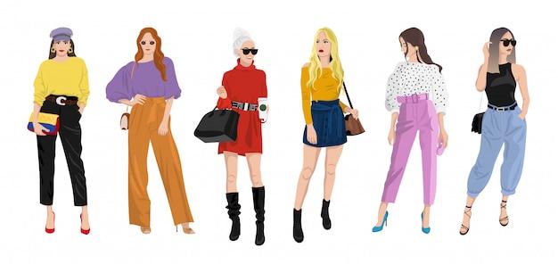 Zestaw kobiet ubranych w stylowe modne ubrania - moda uliczna