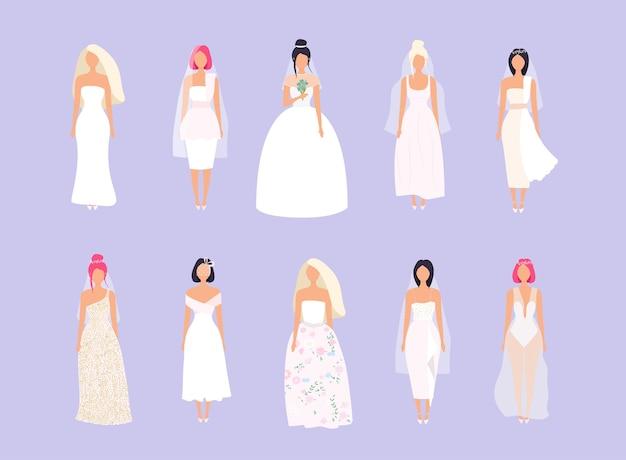 Zestaw kobiet w sukniach ślubnych w różnych stylach. ilustracja.