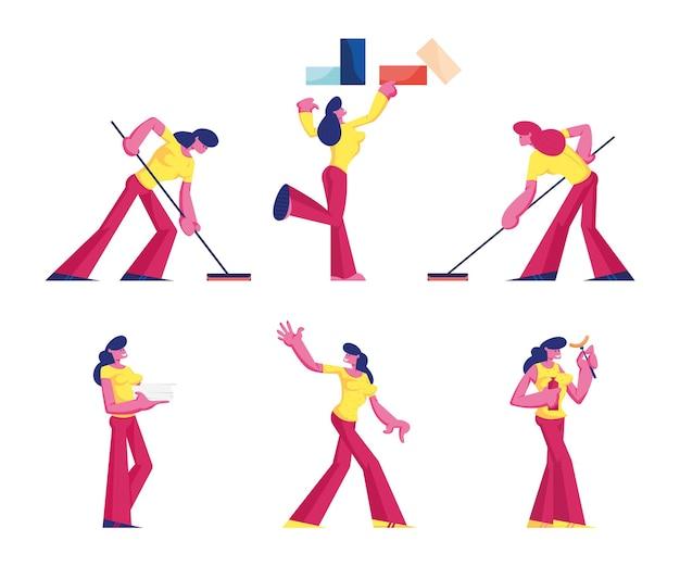 Zestaw kobiet w sytuacjach życiowych, płaskie ilustracja kreskówka