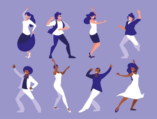 Zestaw kobiet w tanecznej pozie, imprezie, klubie tanecznym