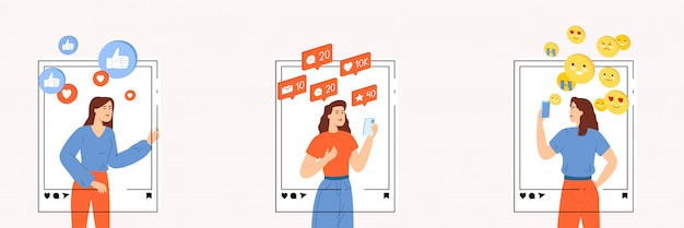 Zestaw kobiet wpływowych lub menedżerów smm, które aktywnie promują bloga w sieciach społecznościowych.