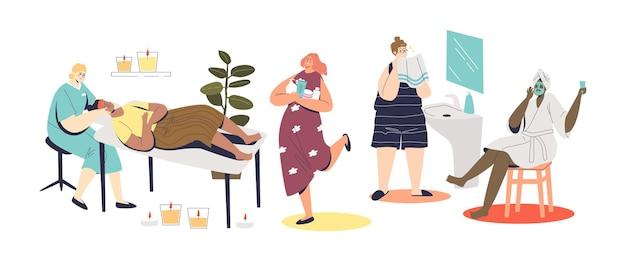Zestaw kobiet wykonujących zabiegi kosmetyczne do pielęgnacji skóry i urody twarzy za pomocą profesjonalnych masek, kremów i środków czyszczących w domu i salonie kosmetycznym. ilustracja kreskówka wektor