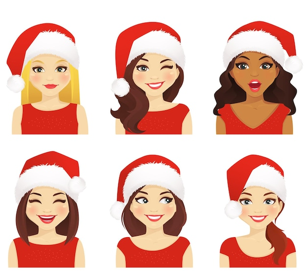 Zestaw kobiet z różnymi wyrazami twarzy w świątecznym santa hat na białym tle
