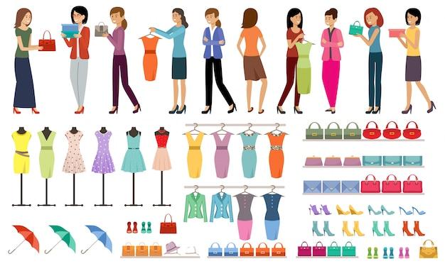Zestaw kobiet z zakupami w sklepie odzieżowym i obuwniczym