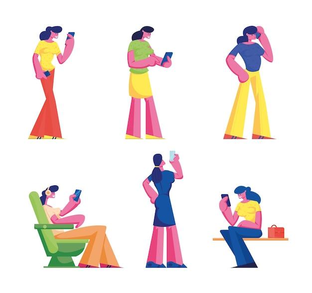 Zestaw kobiet ze smartfonem, uzależnienie od gadżetów. ilustracja kreskówka
