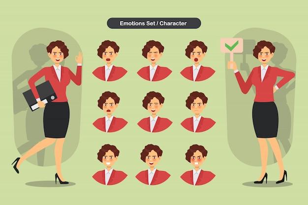 Zestaw kobieta biznesu różne wyrazy twarzy.