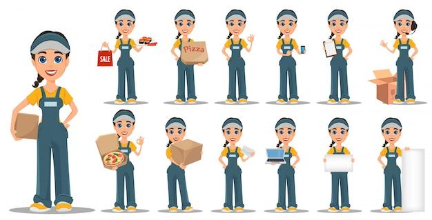 Zestaw kobieta kurier. profesjonalna szybka dostawa