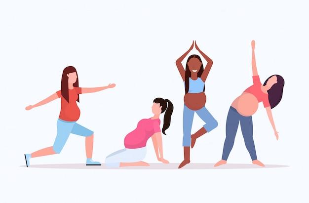 Zestaw kobieta w ciąży robi rozciągające ćwiczenia fizyczne mix rasy dziewcząt wypracowanie kolekcja fitness ciąża zdrowego stylu życia koncepcja pełnej długości poziomej