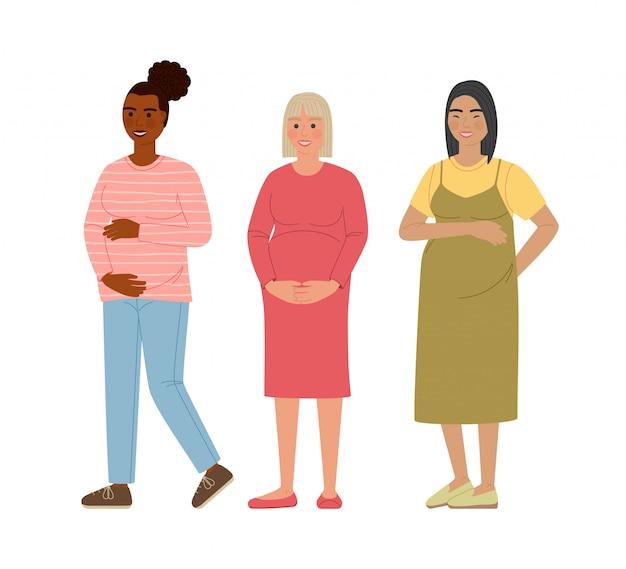Zestaw kobieta w ciąży. szczęśliwa kobieta mama spodziewa się dziecka. postaci z kreskówek na białym tle.